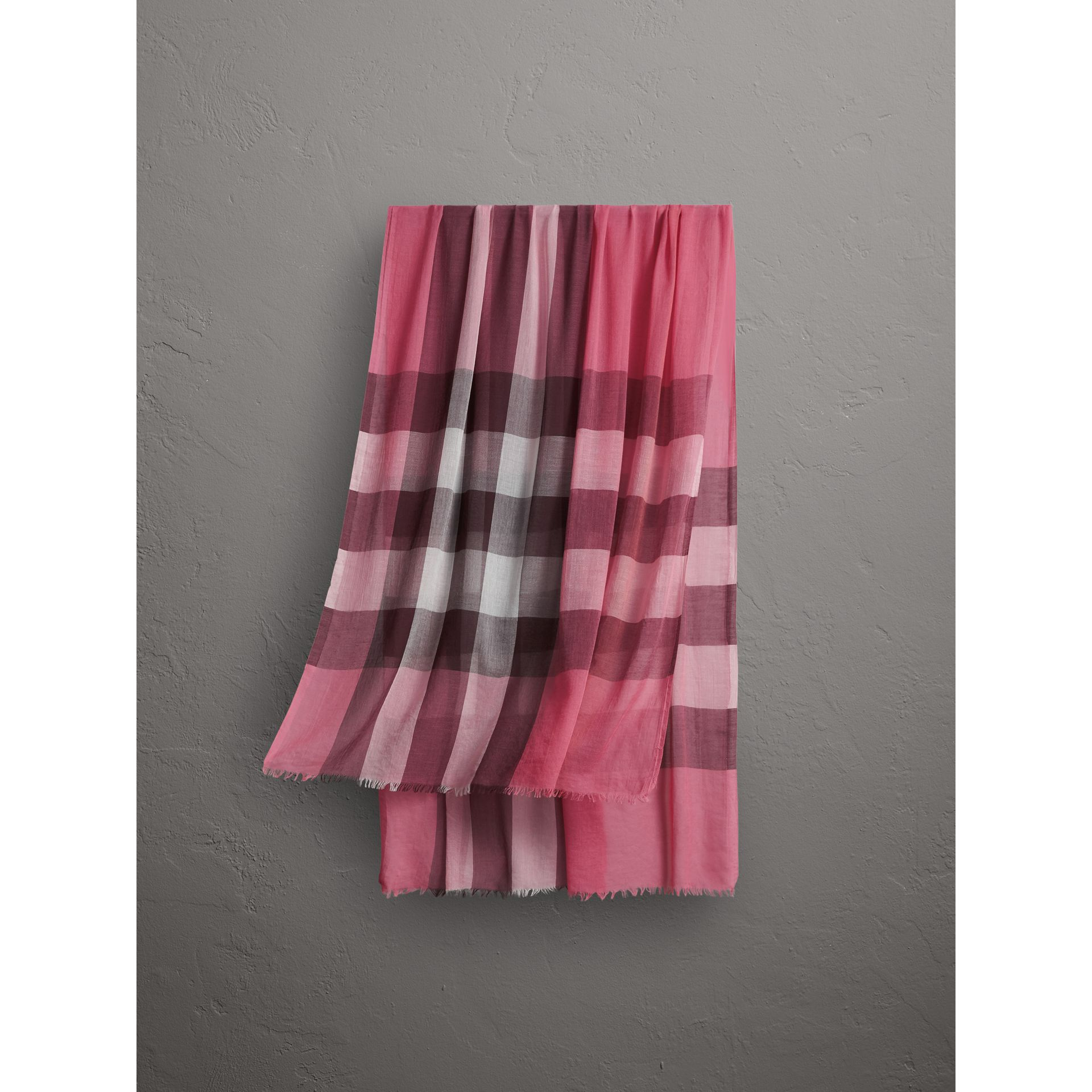 Check Modal Cashmere and Silk Scarf in Rose Pink - Women | Burberry - gallery image 0