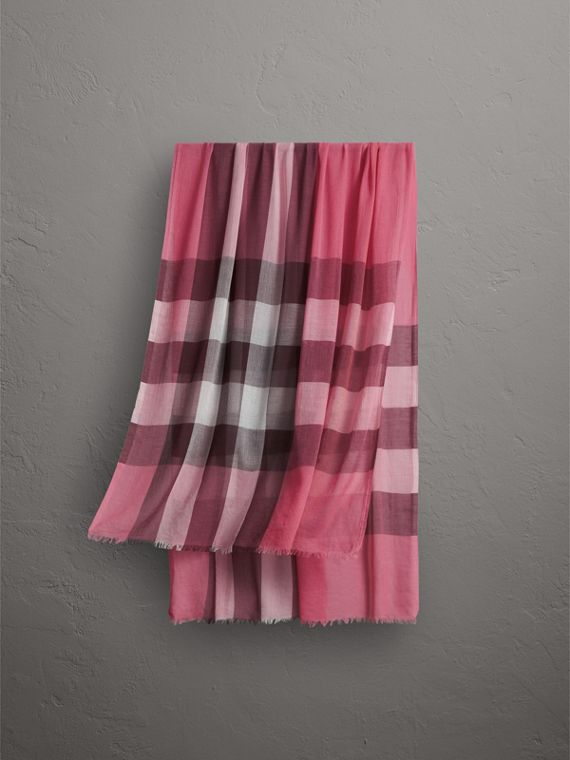 Check Modal Cashmere and Silk Scarf in Rose Pink