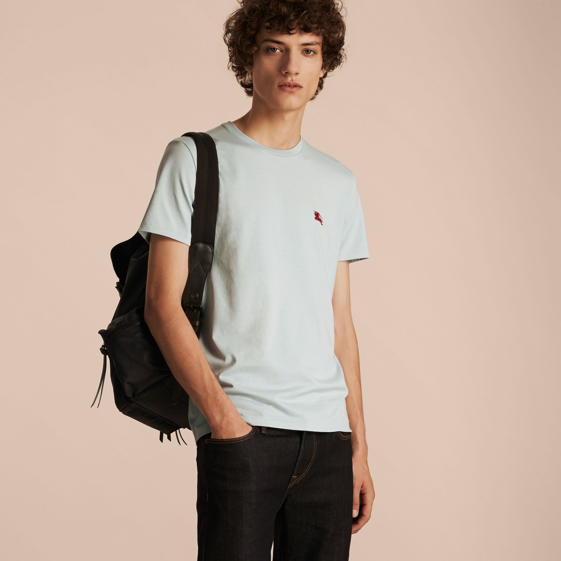 Cotton Jersey T-shirt in Pale Opal Blue - Men | Burberry - gallery image 6