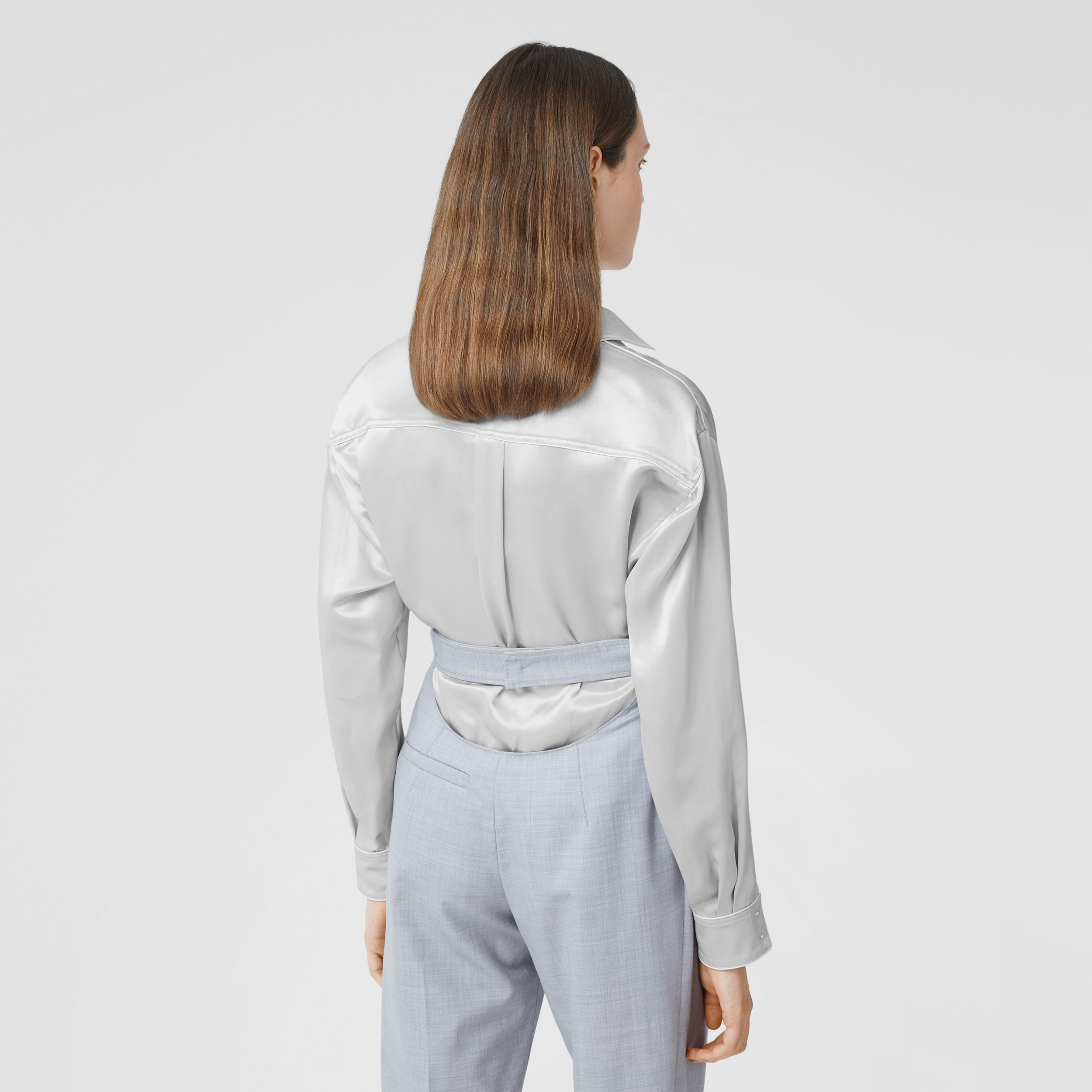 Silk Satin Shirt in Light Pebble Grey - Women | Burberry - 3