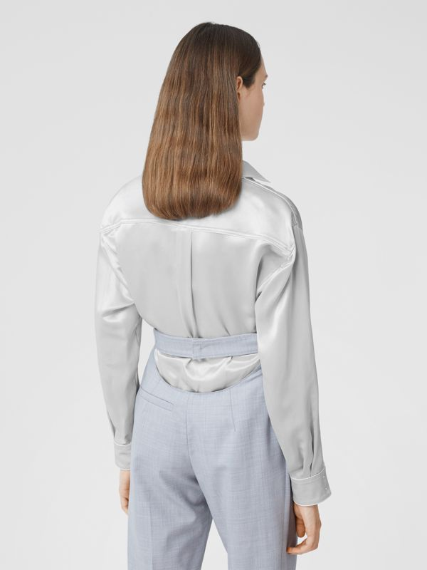 Silk Satin Shirt in Light Pebble Grey - Women | Burberry - cell image 2