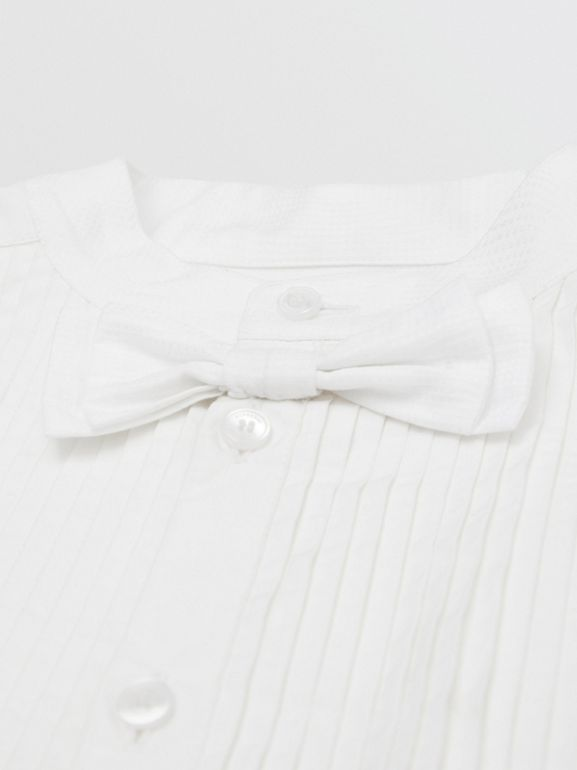 Bow Tie Detail Stretch Cotton Poplin Shirt in White | Burberry - cell image 1