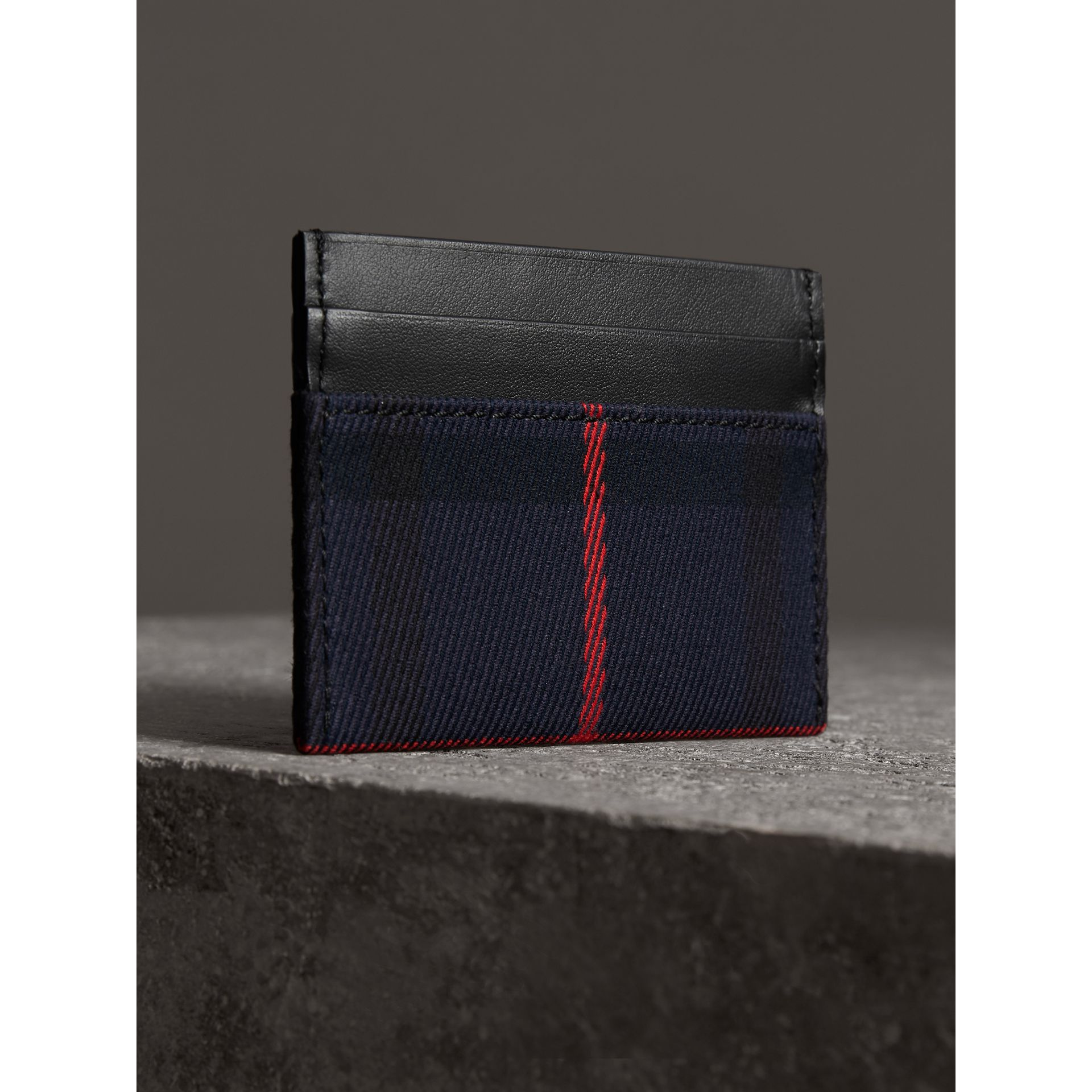 Tartan Check and Leather Card Case in Deep Navy/black | Burberry - gallery image 2