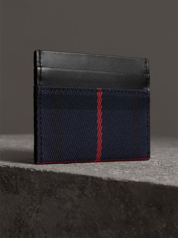 Tartan Check and Leather Card Case in Deep Navy/black | Burberry United States - cell image 2