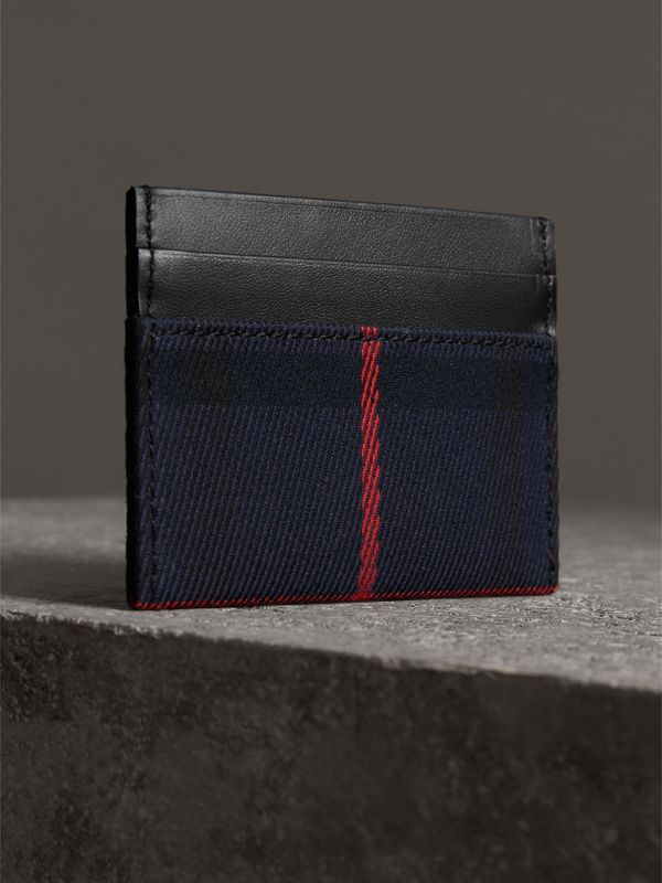 Tartan Check and Leather Card Case in Deep Navy/black | Burberry Singapore - cell image 2
