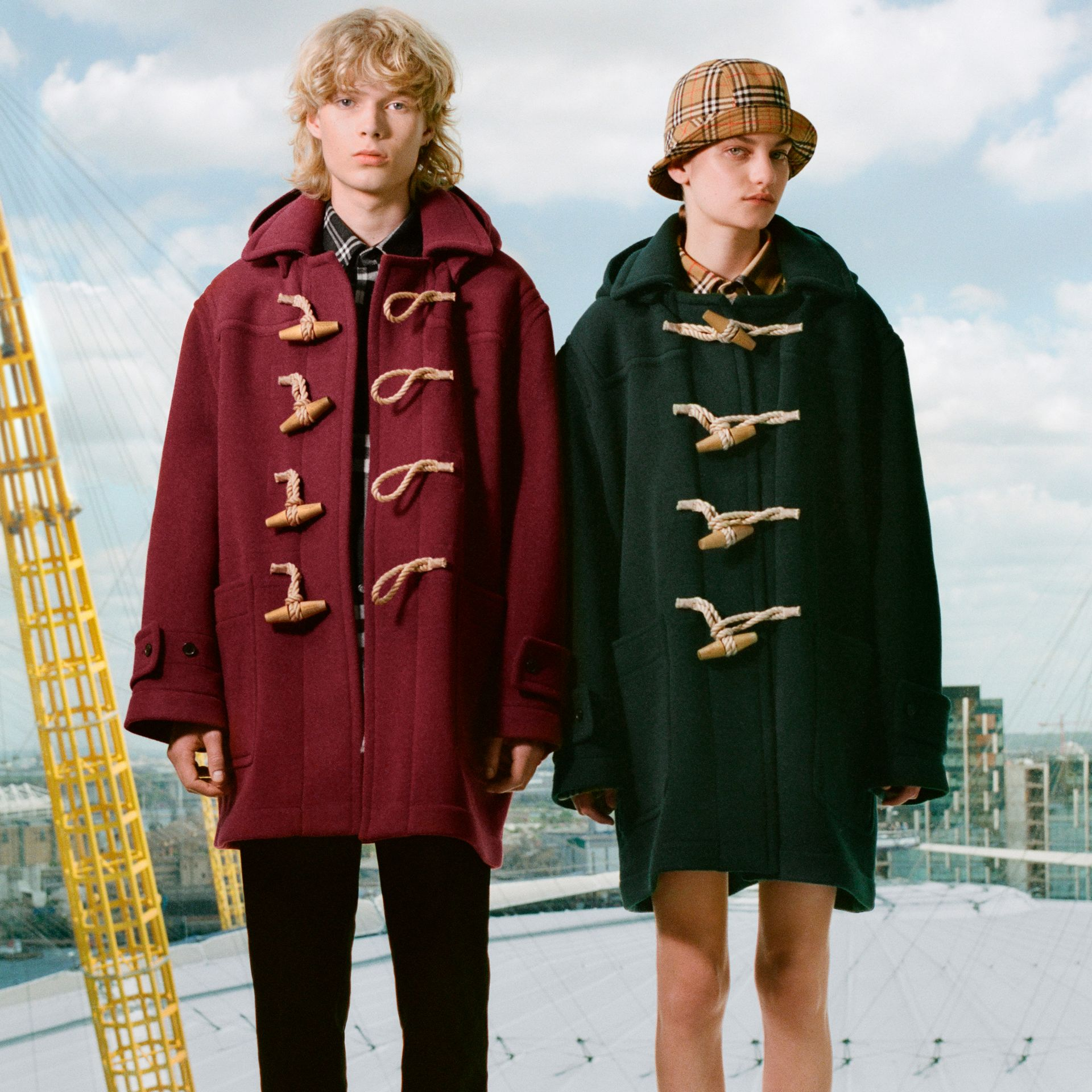 Gosha x Burberry Oversized Duffle Coat in Dark Forest Green | Burberry - gallery image 1