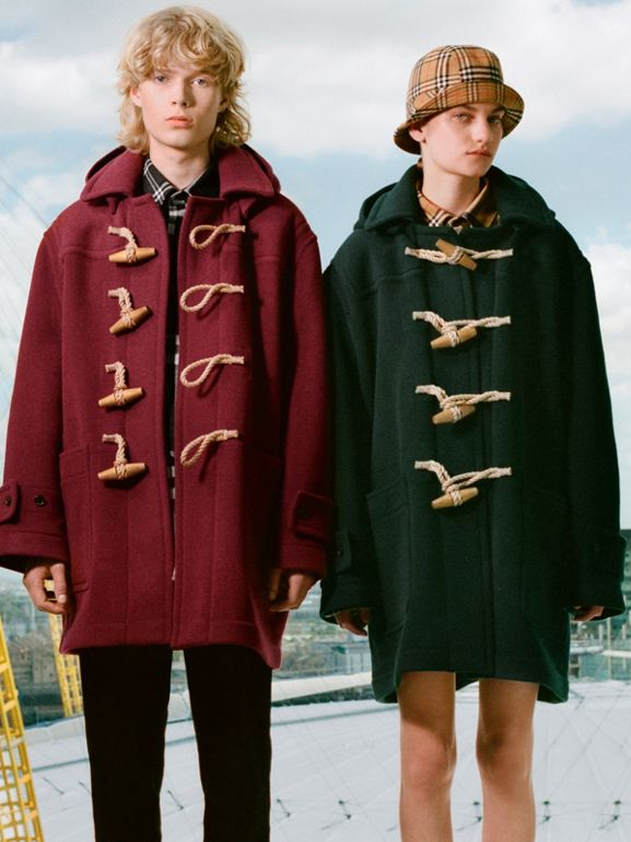 Gosha x Burberry Oversized Duffle Coat in Dark Forest Green | Burberry Australia - cell image 1