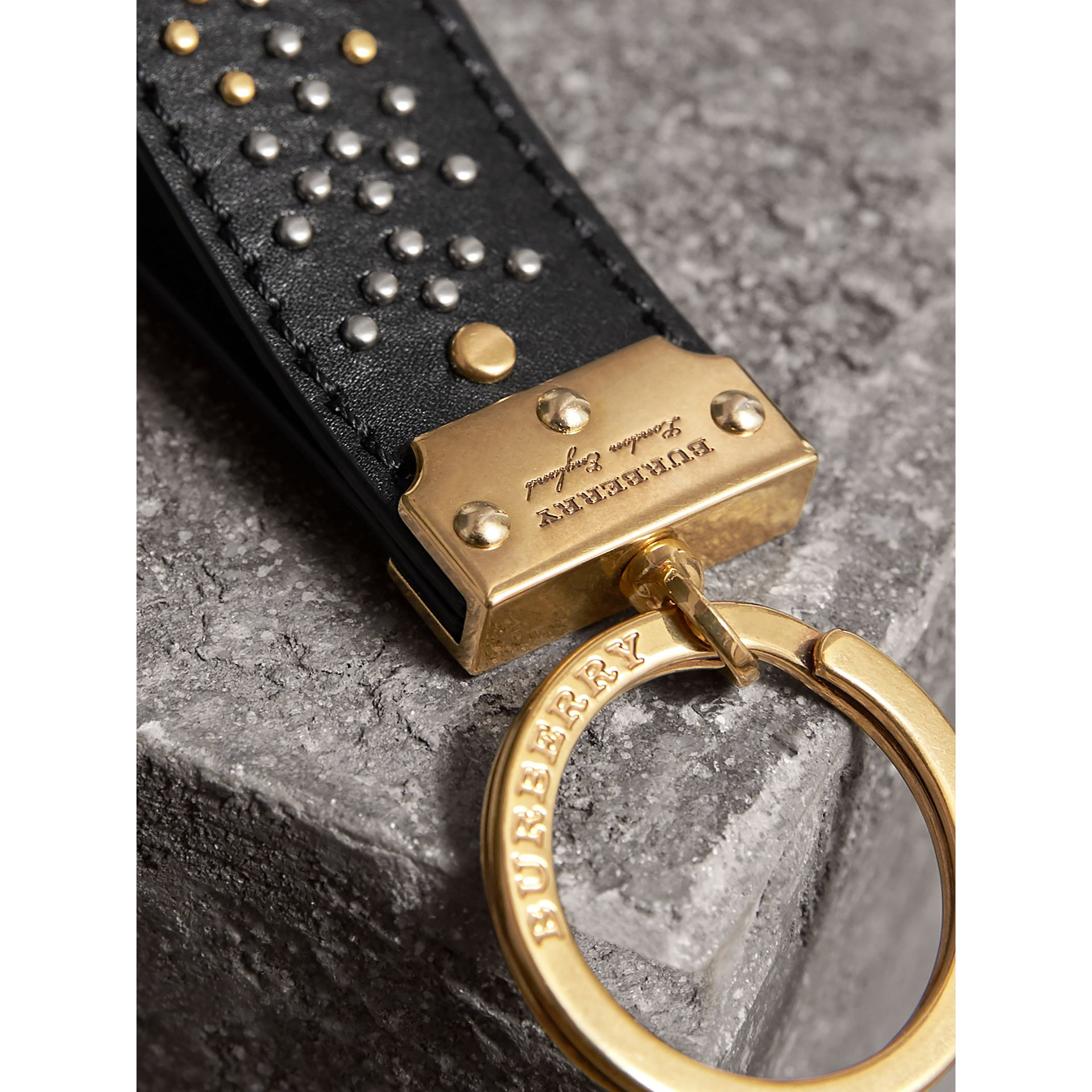Riveted Leather Key Ring in Black - Men | Burberry United States - gallery image 2