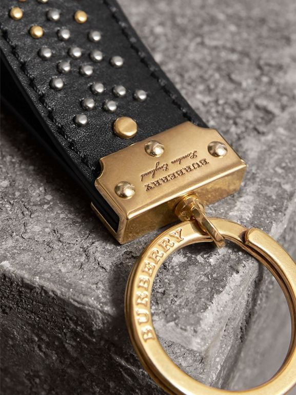 Riveted Leather Key Ring in Black | Burberry - cell image 1