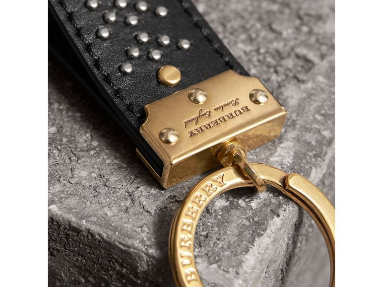 Riveted Leather Key Ring in Black - Men | Burberry United States - cell image 1