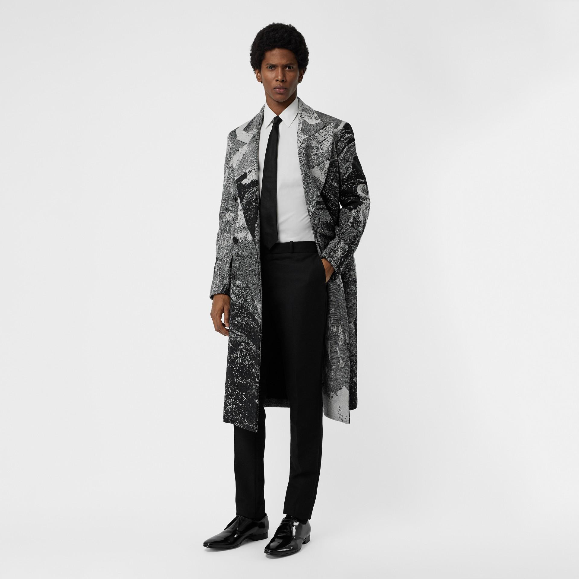 Soho Fit Bullion Stripe Wool Twill Tailored Trousers in Black - Men | Burberry - gallery image 0