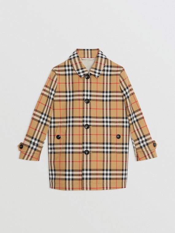 Vintage 格紋棉質中長大衣 (古典黃色)