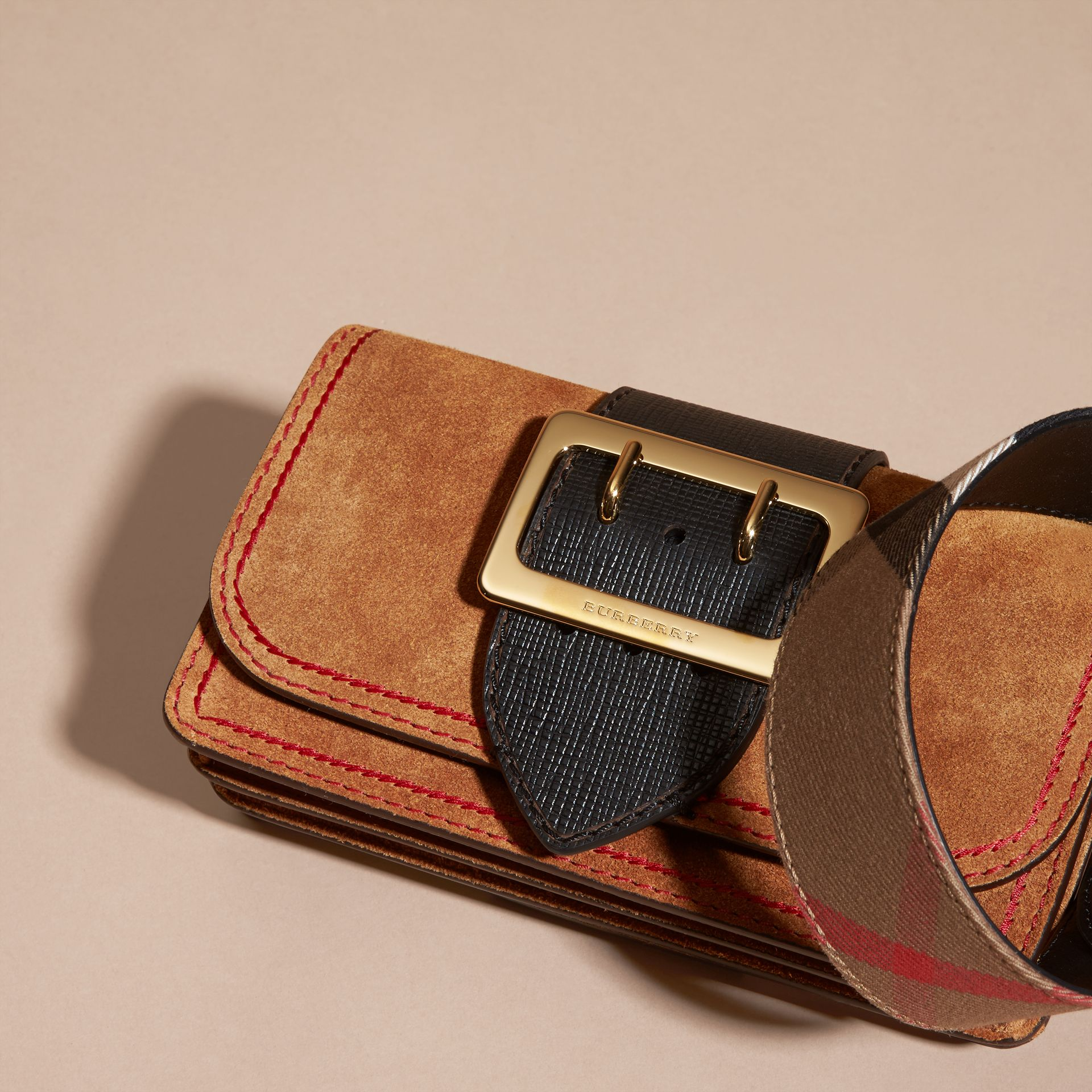 The Small Buckle Bag in Suede with Topstitching Bright Toffee/black - gallery image 8