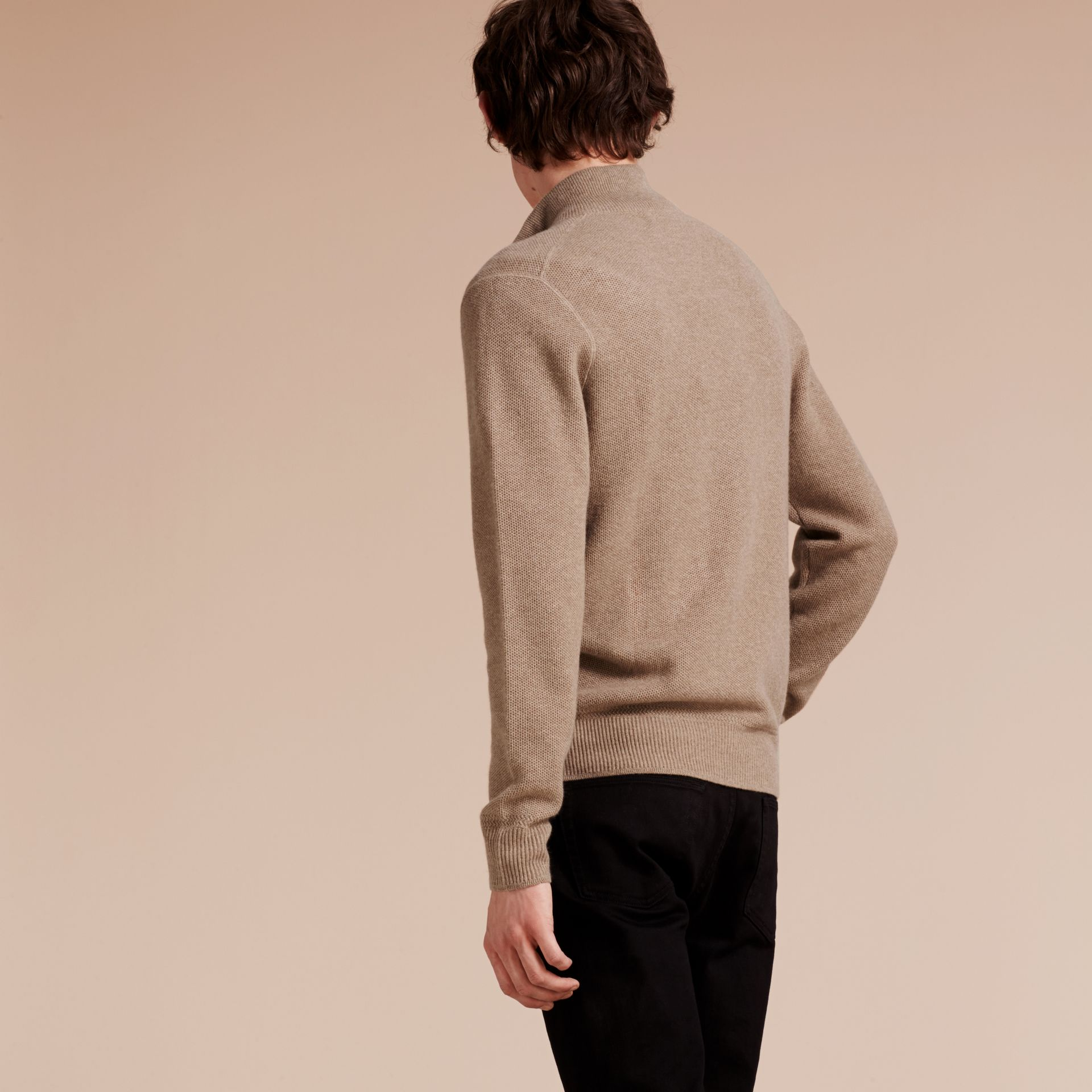 Stone Zip Front Wool Cashmere Cardigan Stone - gallery image 3