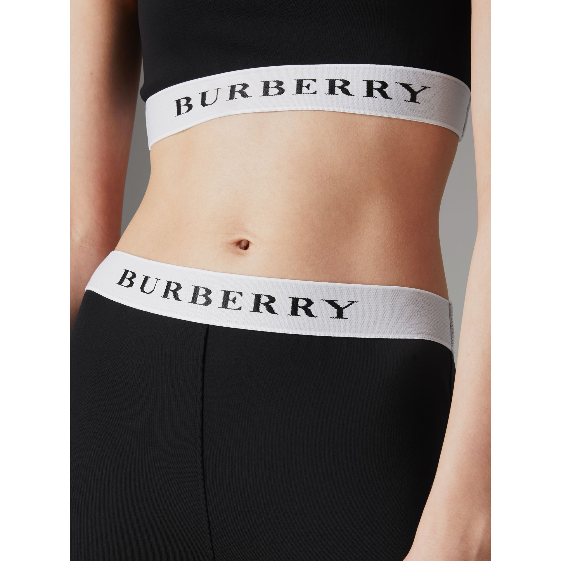 Logo Detail Jersey Leggings in Black - Women | Burberry - gallery image 1