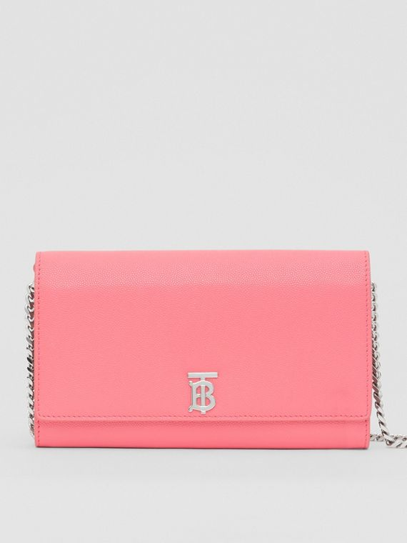 Monogram Motif Leather Wallet with Detachable Strap in Candy Floss/palladio