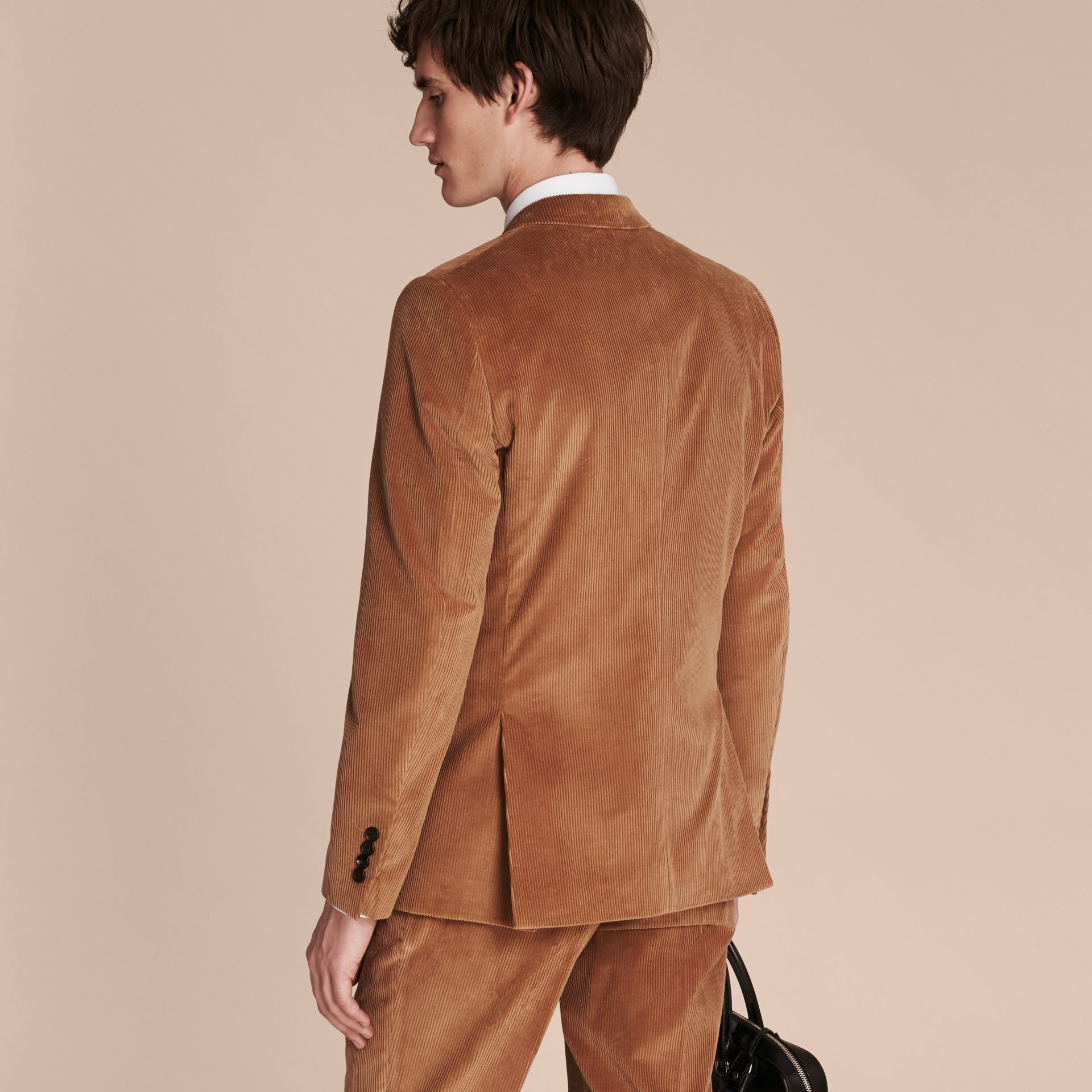 Camel Slim Fit Cotton Corduroy Jacket Camel - gallery image 3