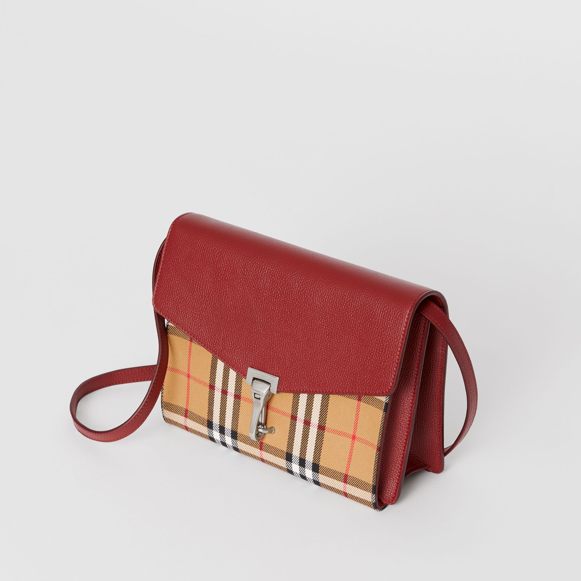 Small Vintage Check and Leather Crossbody Bag in Crimson - Women | Burberry Australia - gallery image 3
