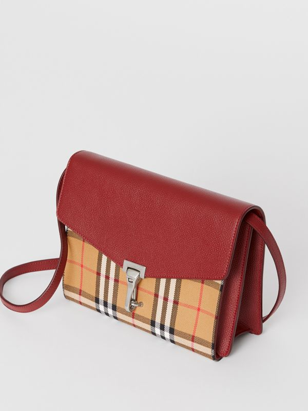 Small Vintage Check and Leather Crossbody Bag in Crimson - Women | Burberry Australia - cell image 3