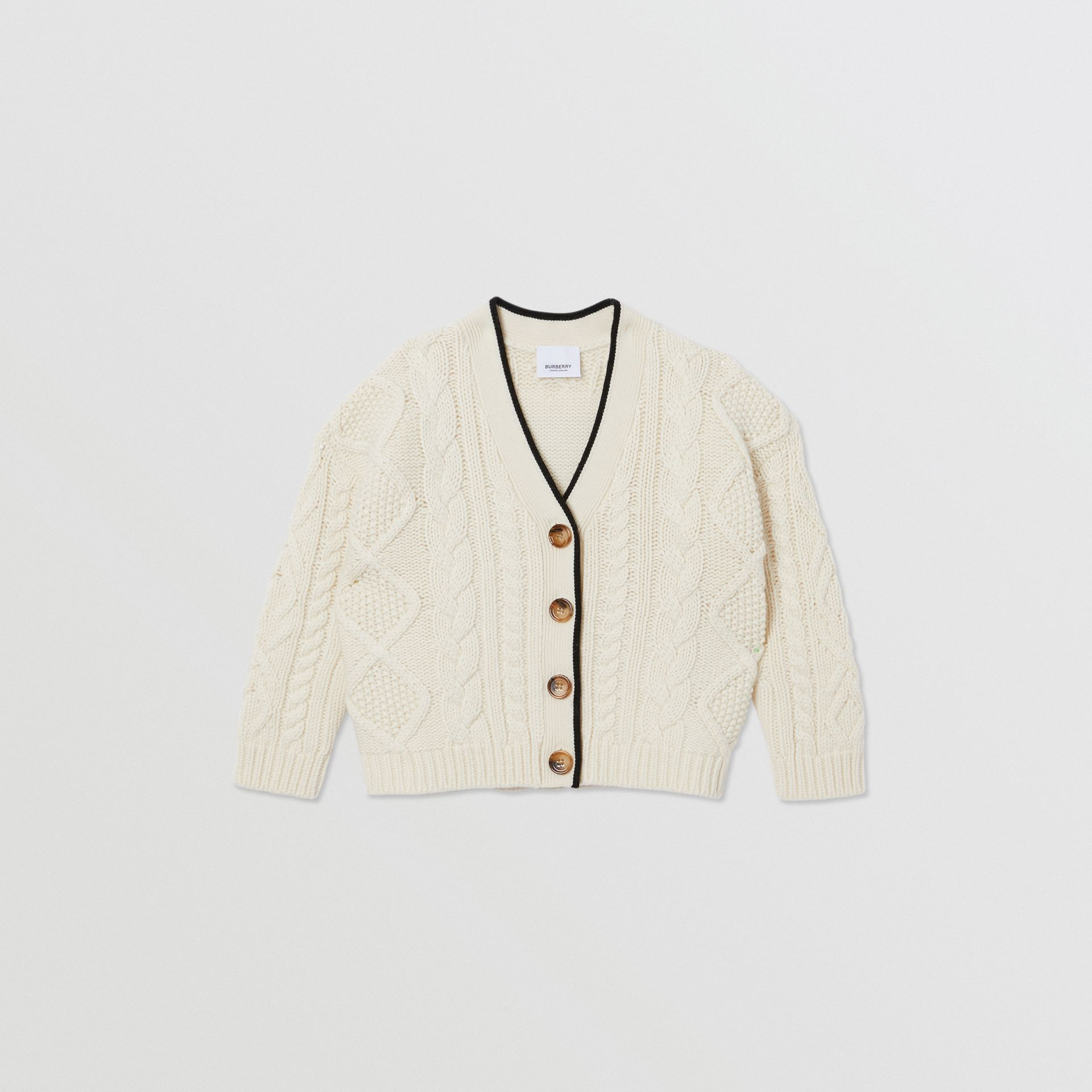 Logo Panel Cable Knit Wool Cashmere Cardigan in Ivory | Burberry - gallery image 0