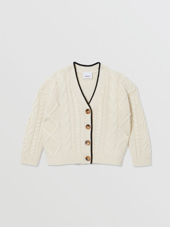 Logo Panel Cable Knit Wool Cashmere Cardigan in Ivory