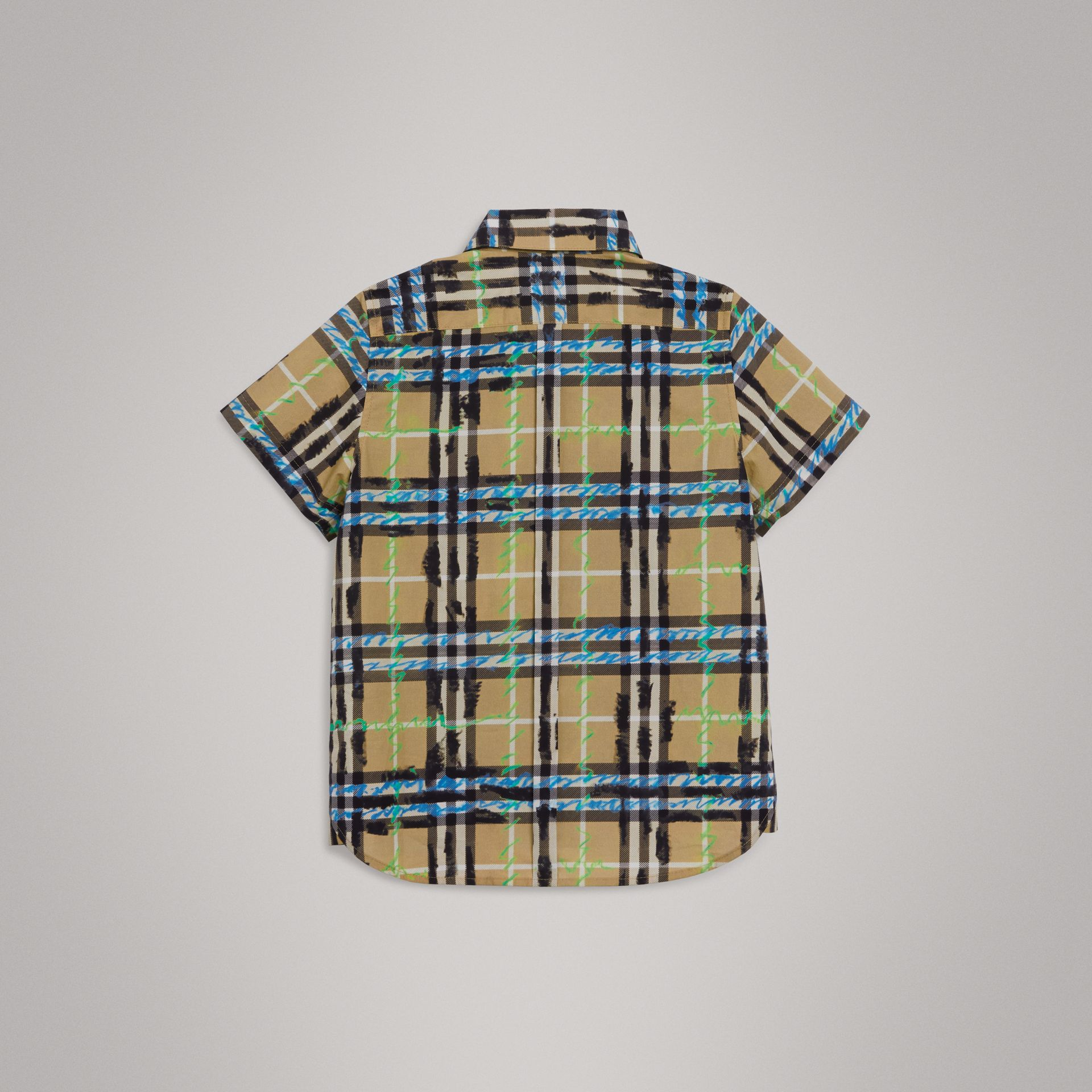 Short-sleeve Scribble Check Cotton Shirt in Bright Blue | Burberry - gallery image 3