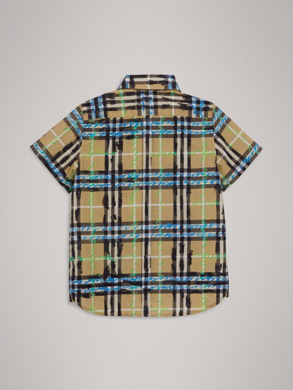 Short-sleeve Scribble Check Cotton Shirt in Bright Blue | Burberry - cell image 3