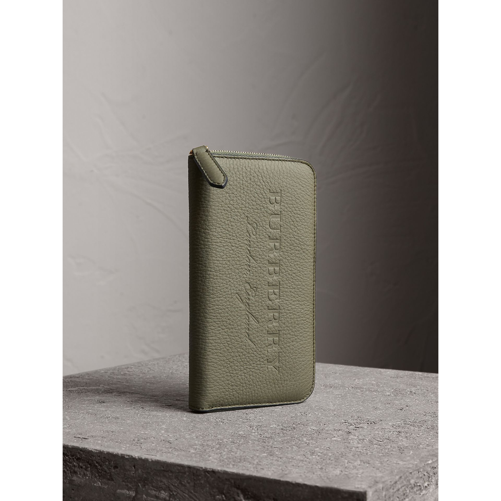 Embossed Grainy Leather Ziparound Wallet in Slate Green - Men | Burberry - gallery image 1