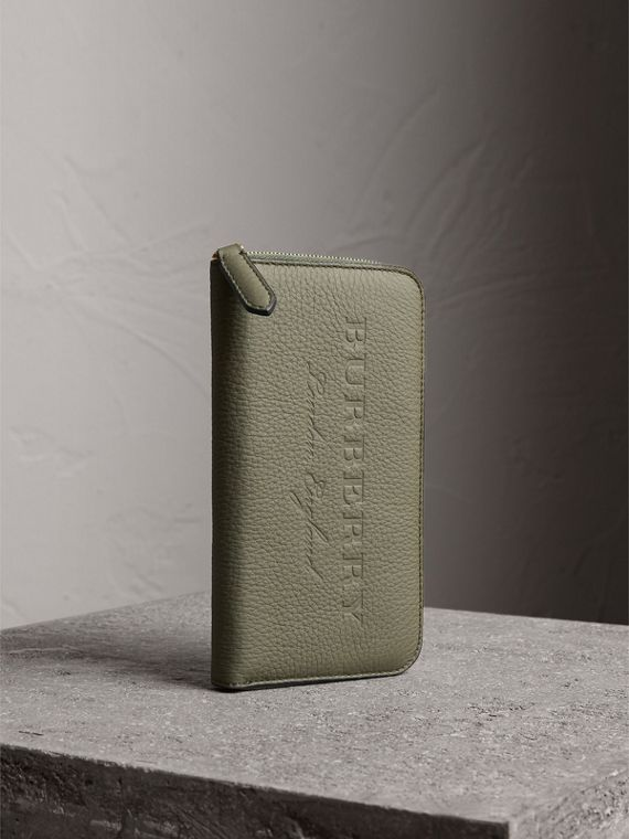 Embossed Grainy Leather Ziparound Wallet in Slate Green