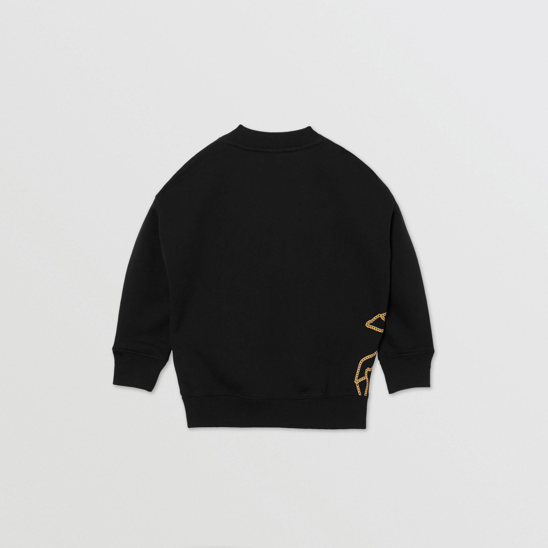 Suéter de algodão com estampa de correntes (Preto) | Burberry - galeria de imagens 3