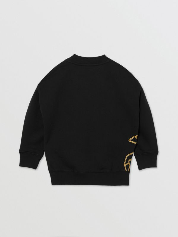 Suéter de algodão com estampa de correntes (Preto) | Burberry - cell image 3