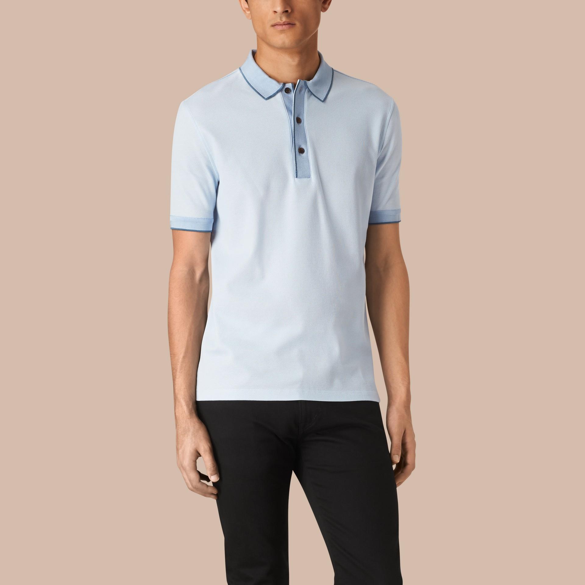 Sky blue/blue azure Contrast Tipping Cotton Piqué Polo Shirt Sky Blue/blue Azure - gallery image 1