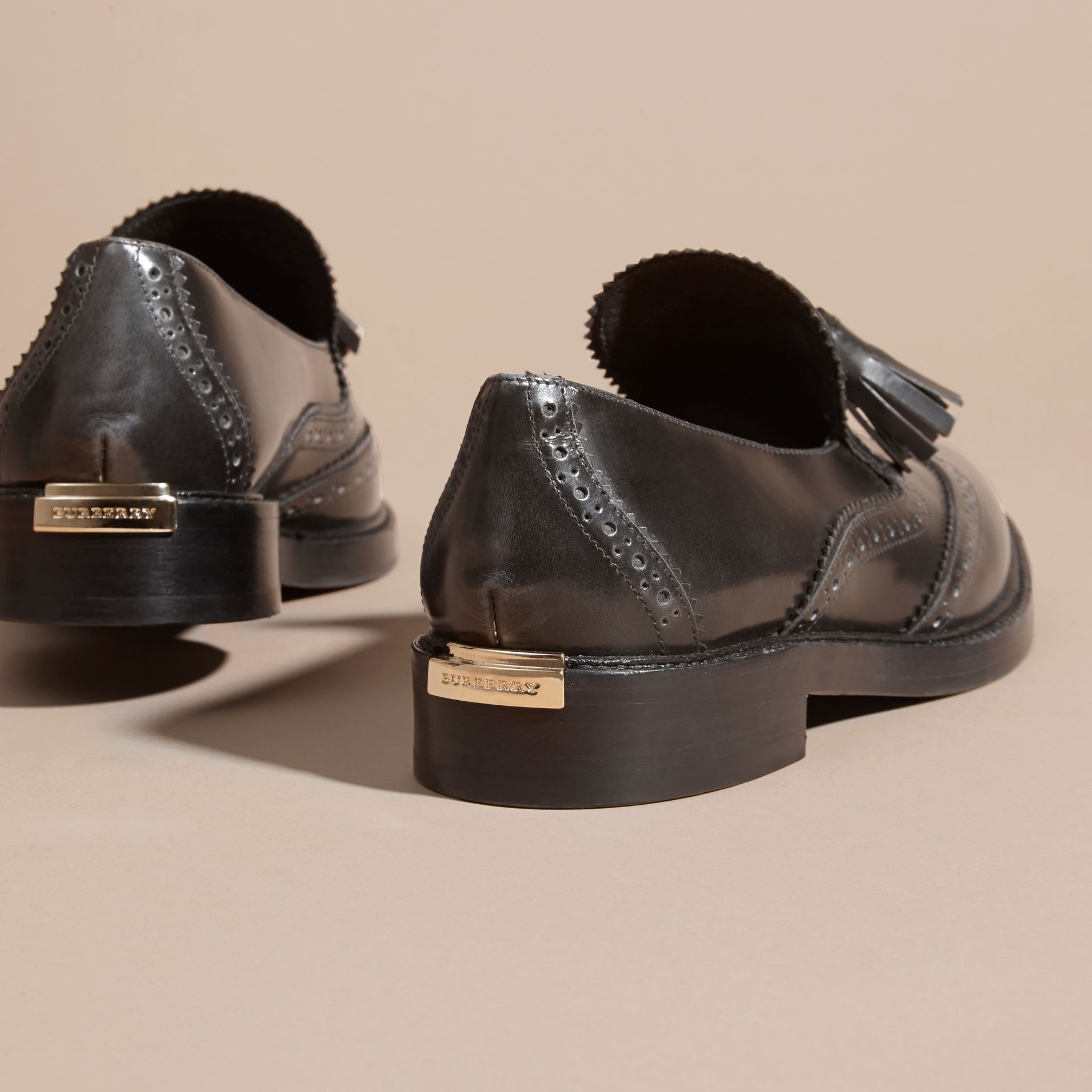 Ink grey Dégradé Tassel Detail Leather Loafers Ink Grey - gallery image 4