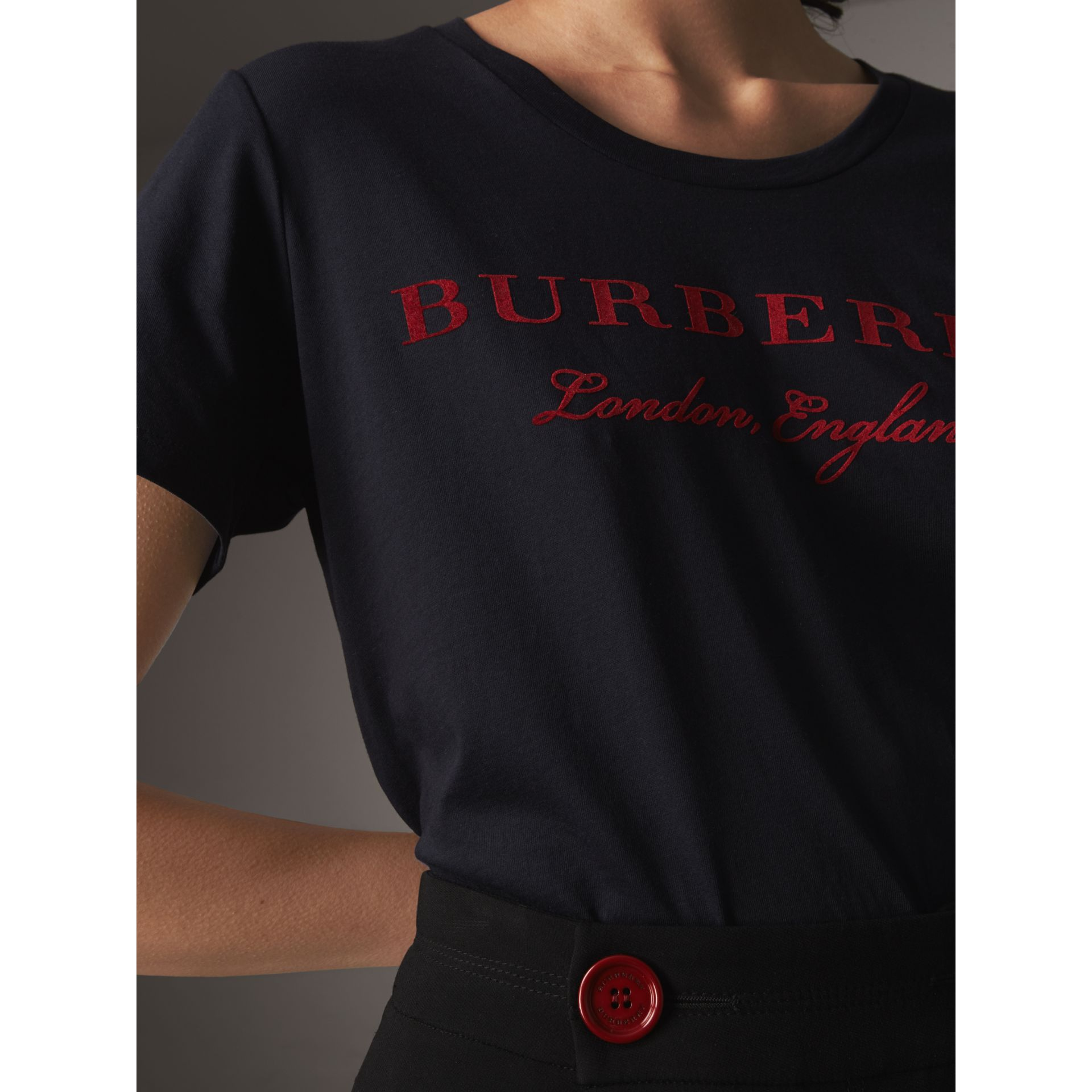 Printed Cotton T-shirt in True Navy - Women | Burberry - gallery image 1