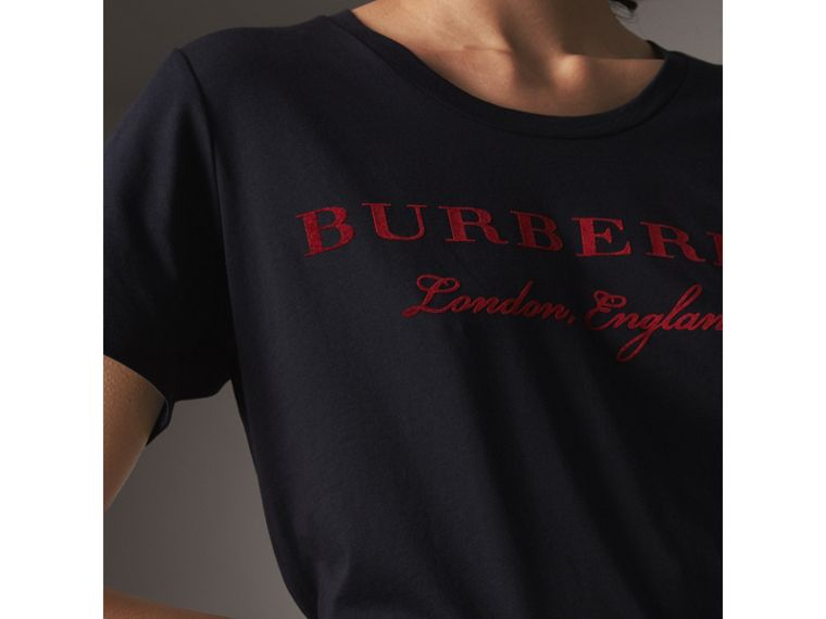 Printed Cotton T-shirt in True Navy - Women | Burberry - cell image 1