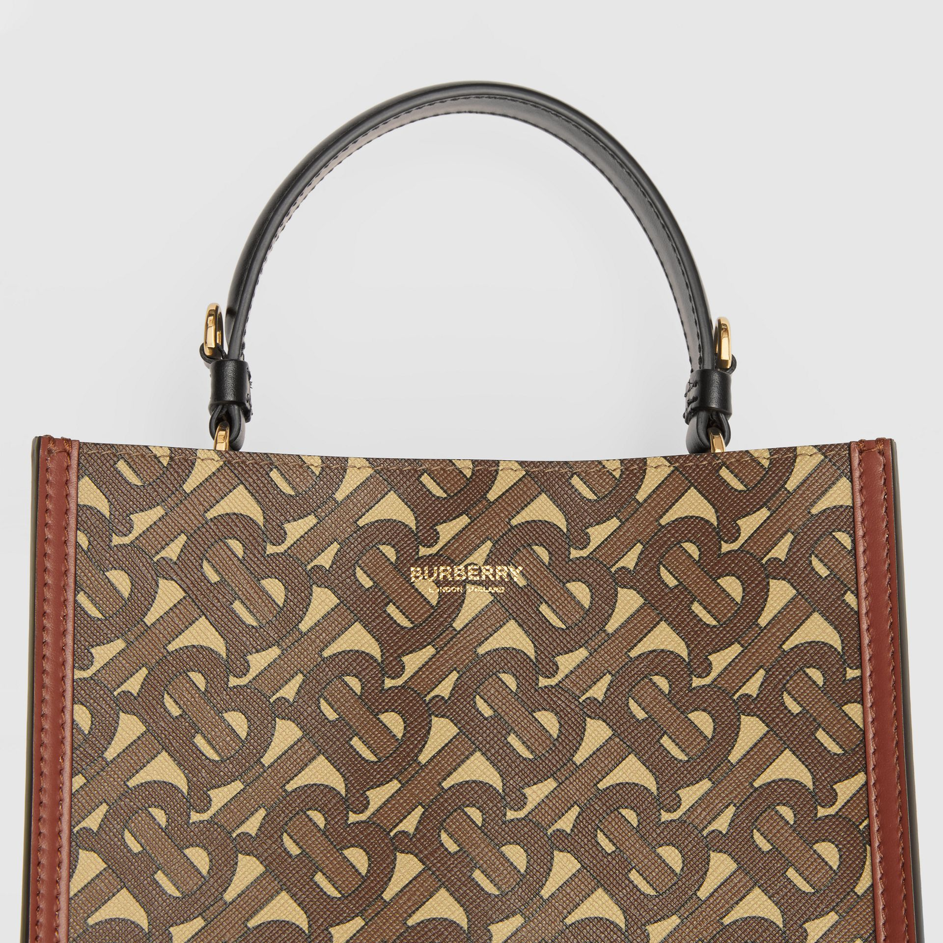Small Monogram E-canvas Peggy Bucket Bag in Bridle Brown - Women | Burberry Australia - gallery image 1