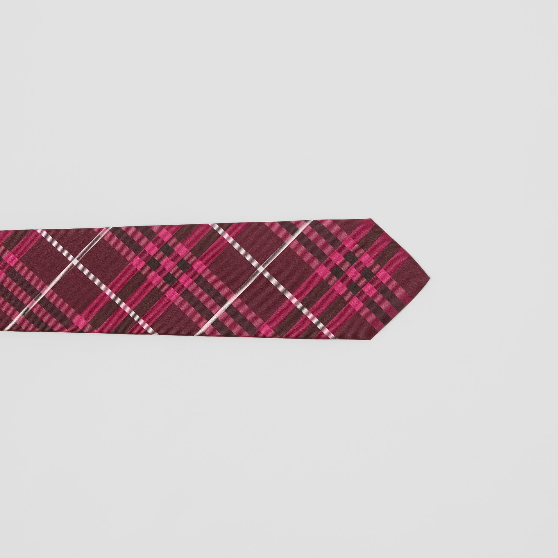 Slim Cut Check Silk Tie in Dark Elderberry - Men | Burberry United Kingdom - gallery image 1