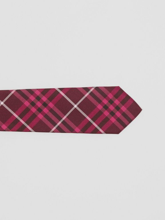 Slim Cut Check Silk Tie in Dark Elderberry - Men | Burberry Singapore - cell image 1