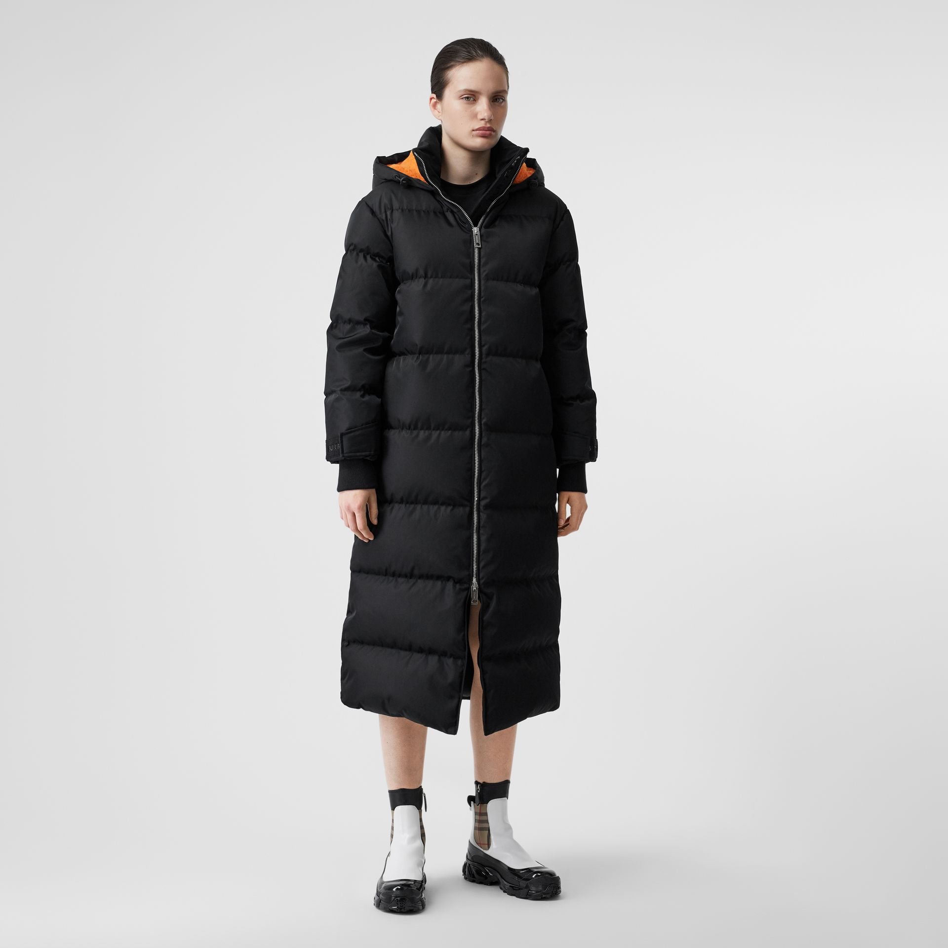 Logo Detail ECONYL® Puffer Coat in Black/orange - Women | Burberry Australia - gallery image 6