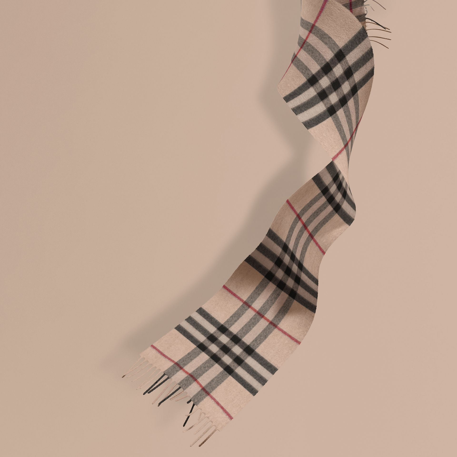The Mini Classic Cashmere Scarf in Check in Stone | Burberry - gallery image 1
