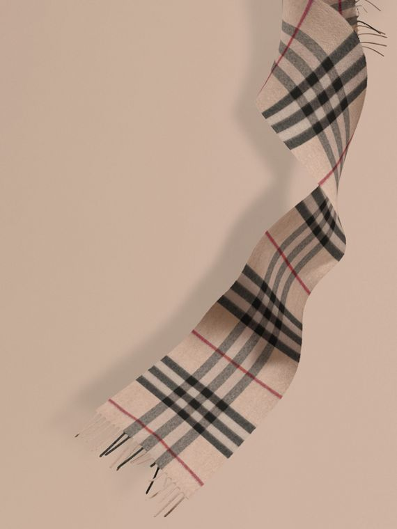 The Mini Classic Cashmere Scarf in Check in Stone | Burberry