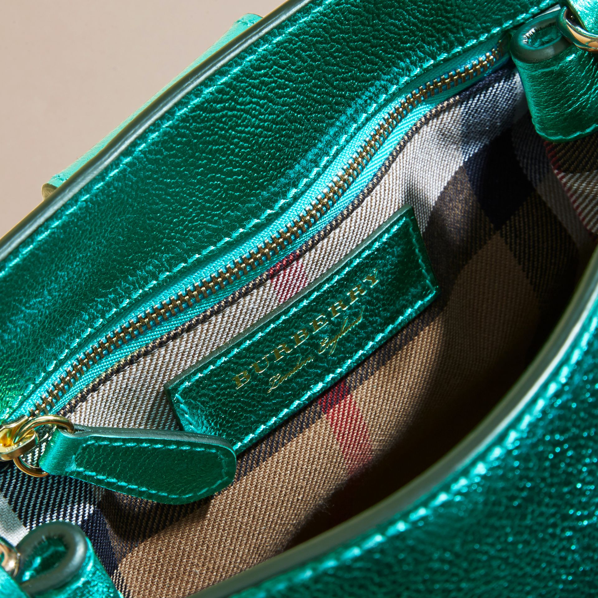 The Small Buckle Tote in Metallic Leather Emerald - gallery image 5