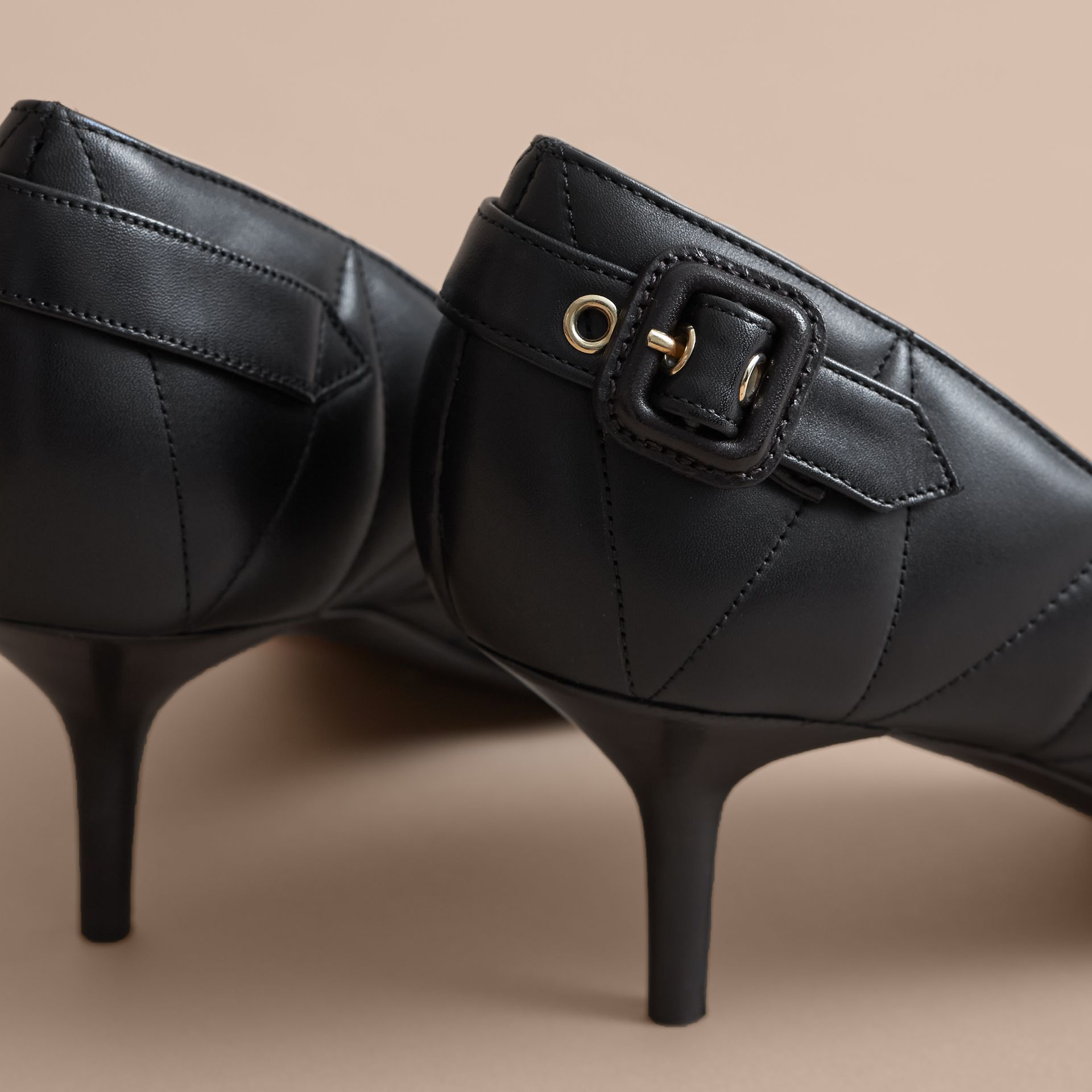 Quilted Leather D'Orsay Pumps in Black - Women | Burberry - gallery image 5