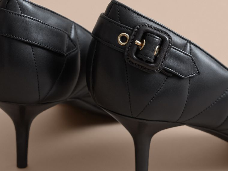 Quilted Leather D'Orsay Pumps in Black - Women | Burberry - cell image 4