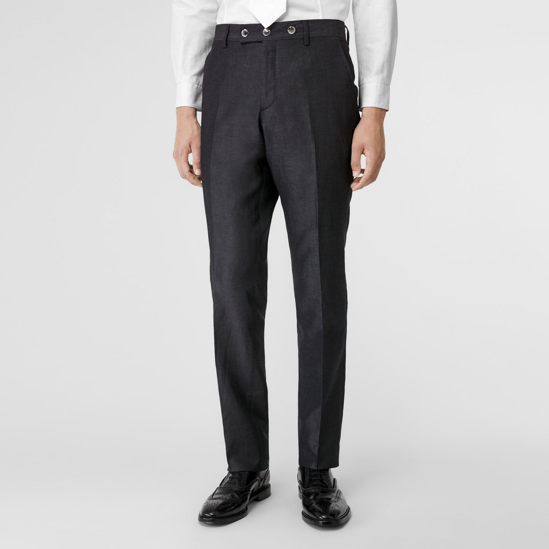 Classic Fit Triple Stud Silk Linen Tailored Trousers in Silver Grey | Burberry - gallery image 4