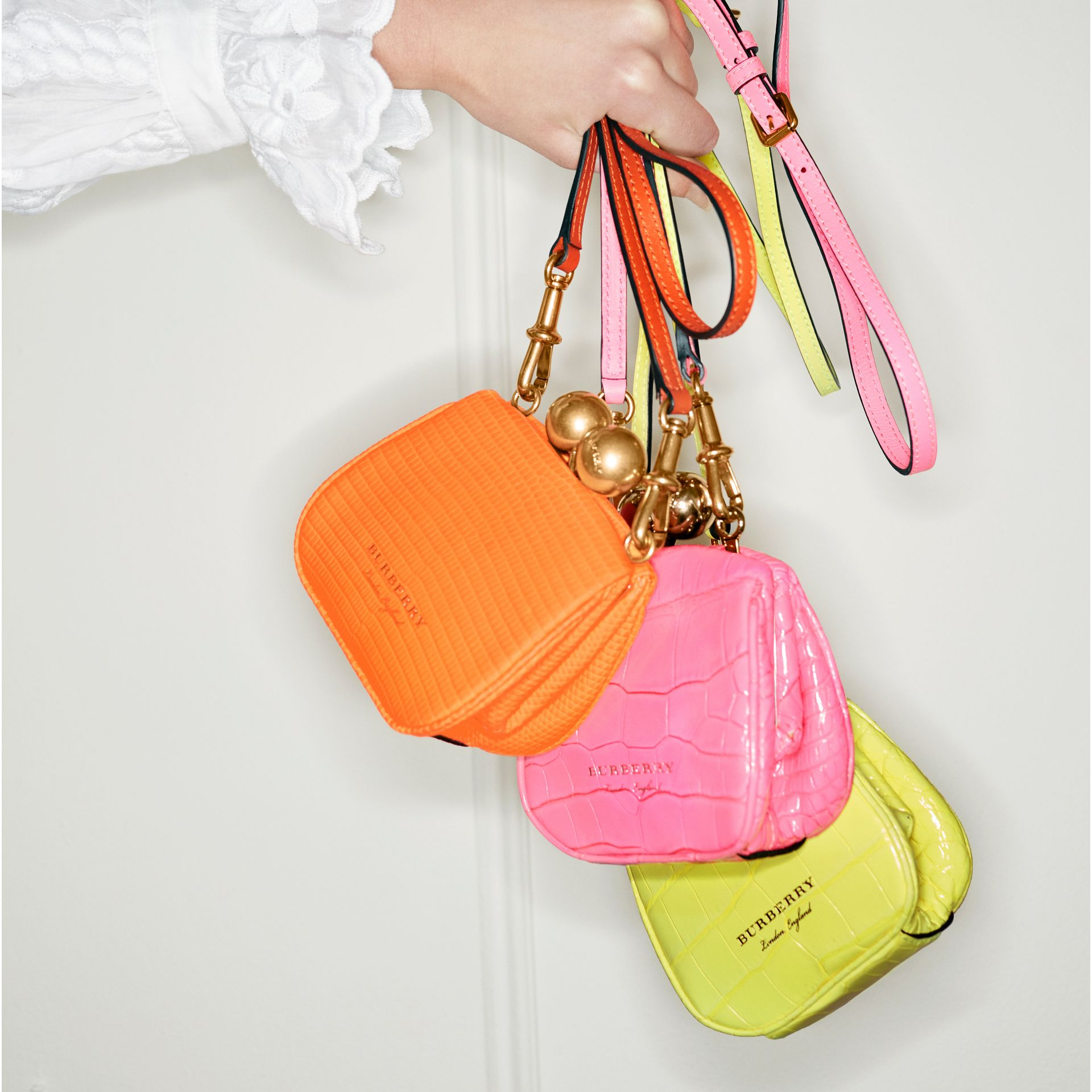 Mini Alligator Metal Frame Clutch Bag in Neon Pink - Women | Burberry Hong Kong - gallery image 6