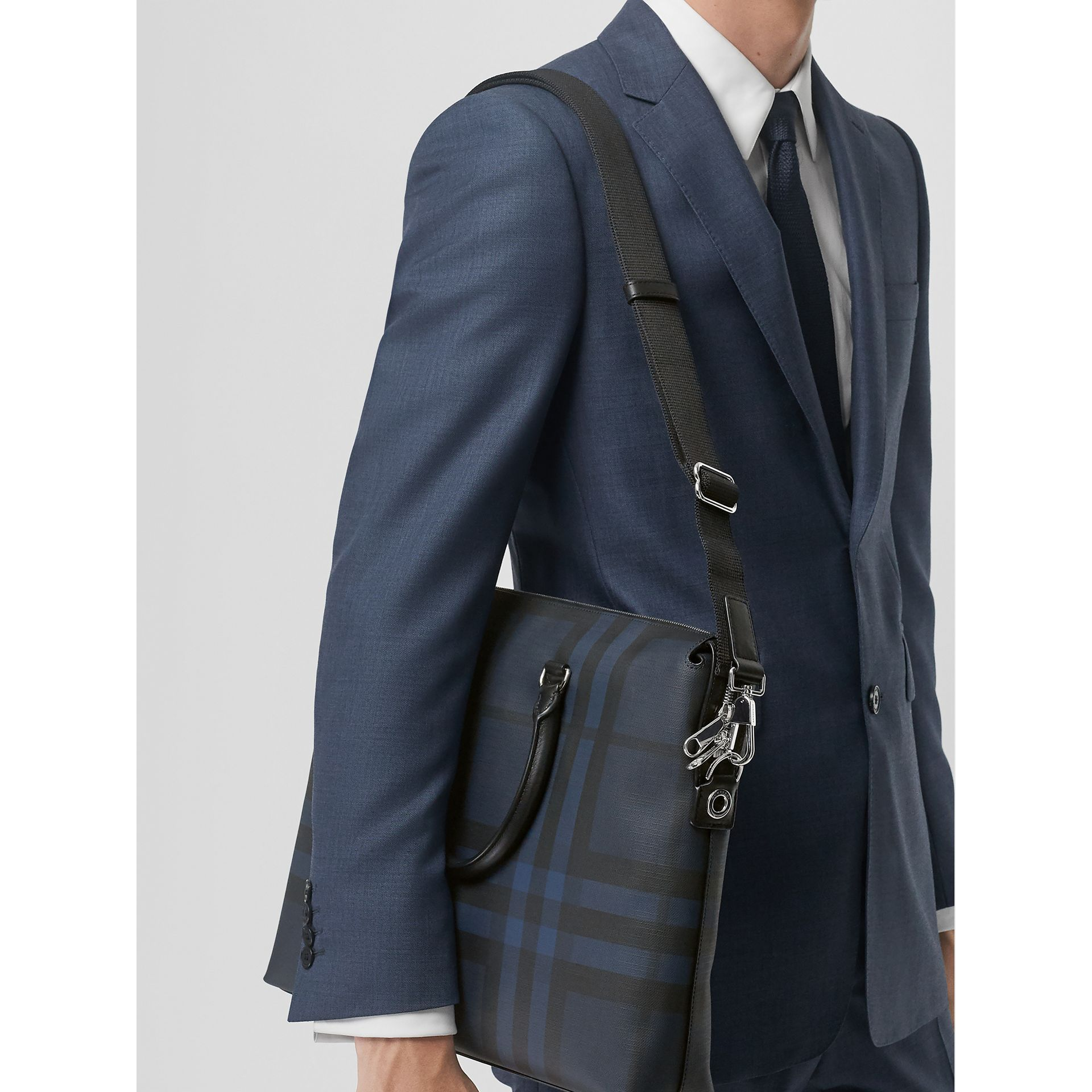 Large London Check Briefcase in Navy/black - Men | Burberry - gallery image 3
