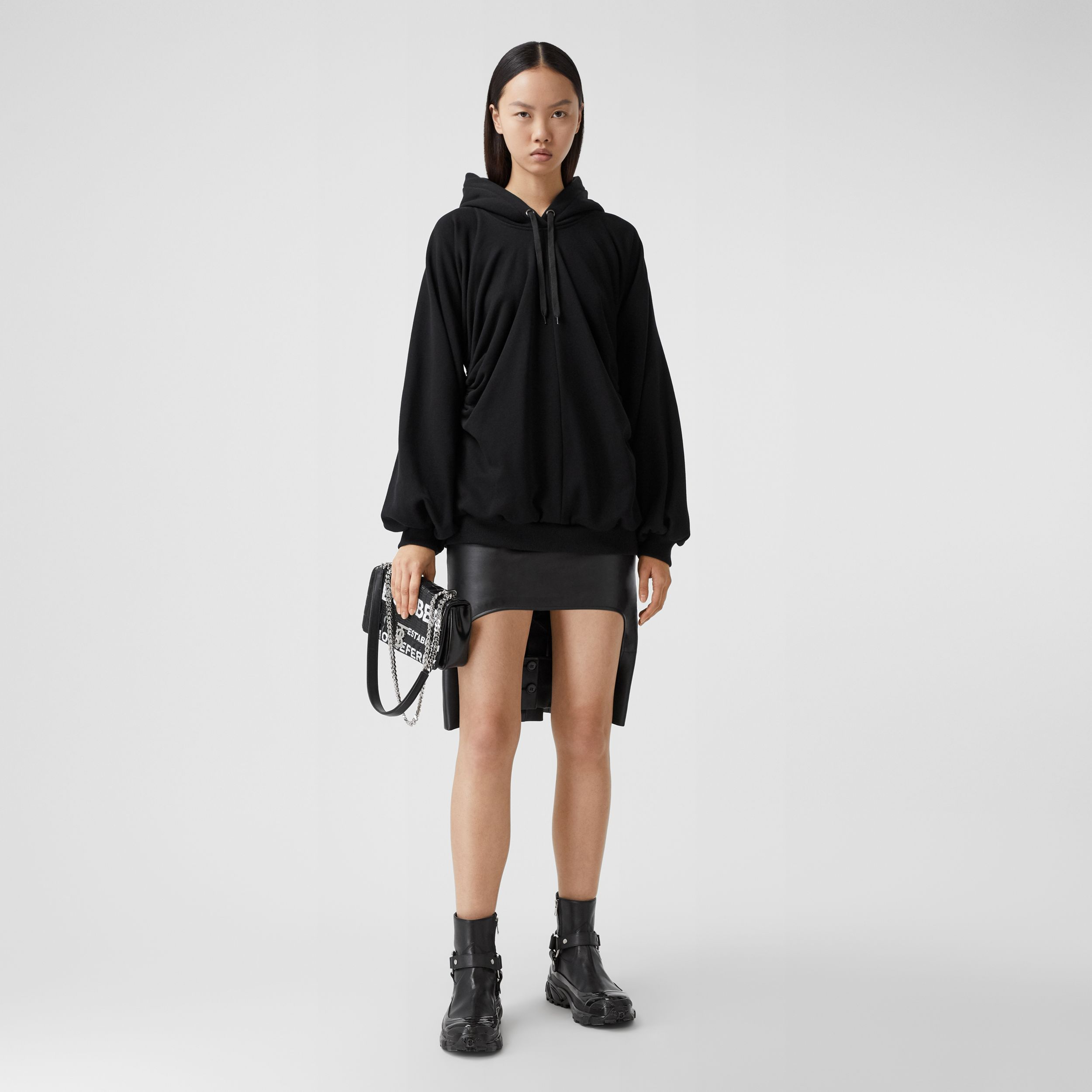 Location Print Gathered Cotton Oversized Hoodie in Black - Women | Burberry - 1