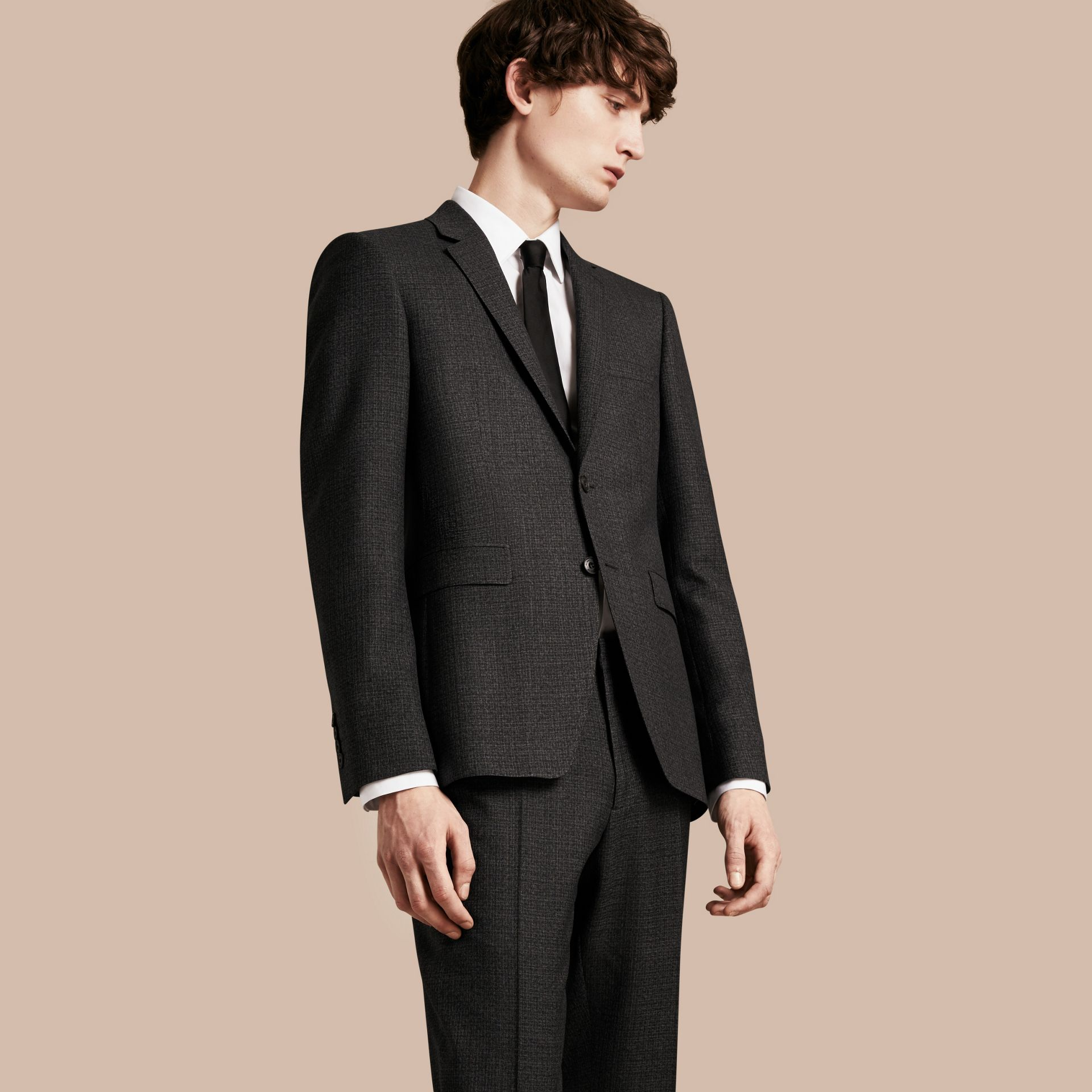 Dark grey melange Slim Fit Melange Wool Half-canvas Suit - gallery image 8