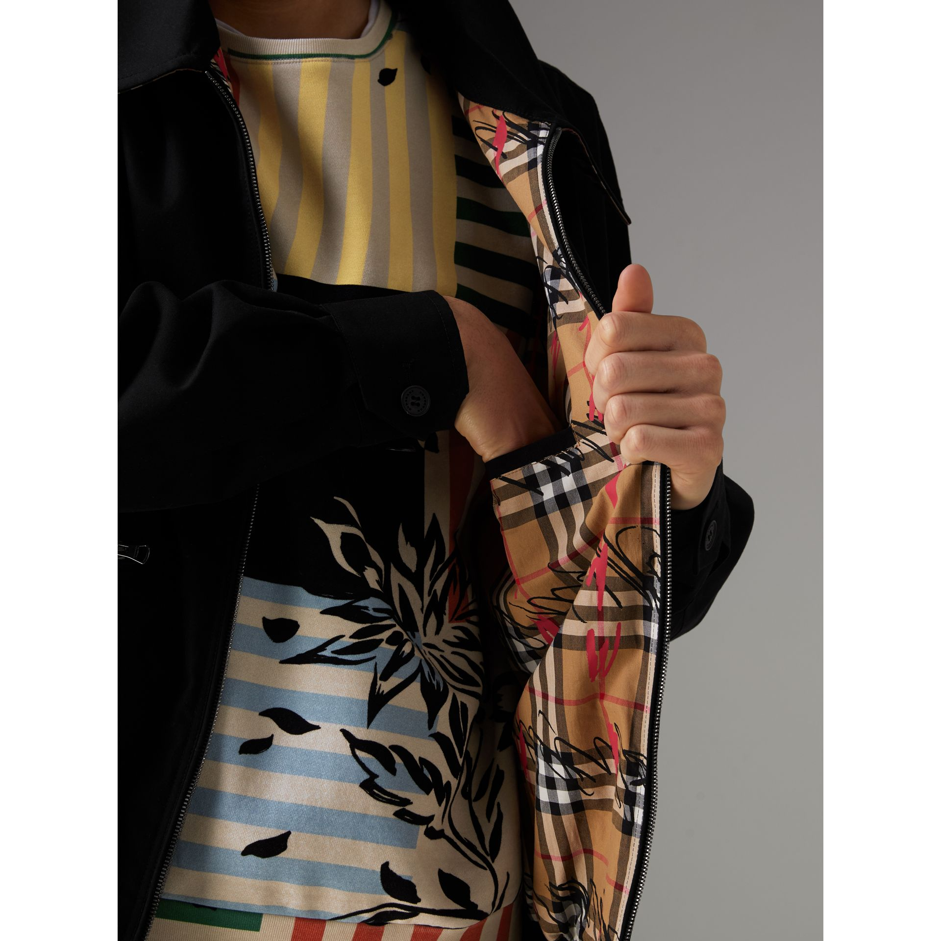 Tropical Gabardine Harrington Jacket in Black - Men | Burberry United Kingdom - gallery image 1